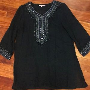 Gorgeous Navy Tunic Trimmed with Sparkle